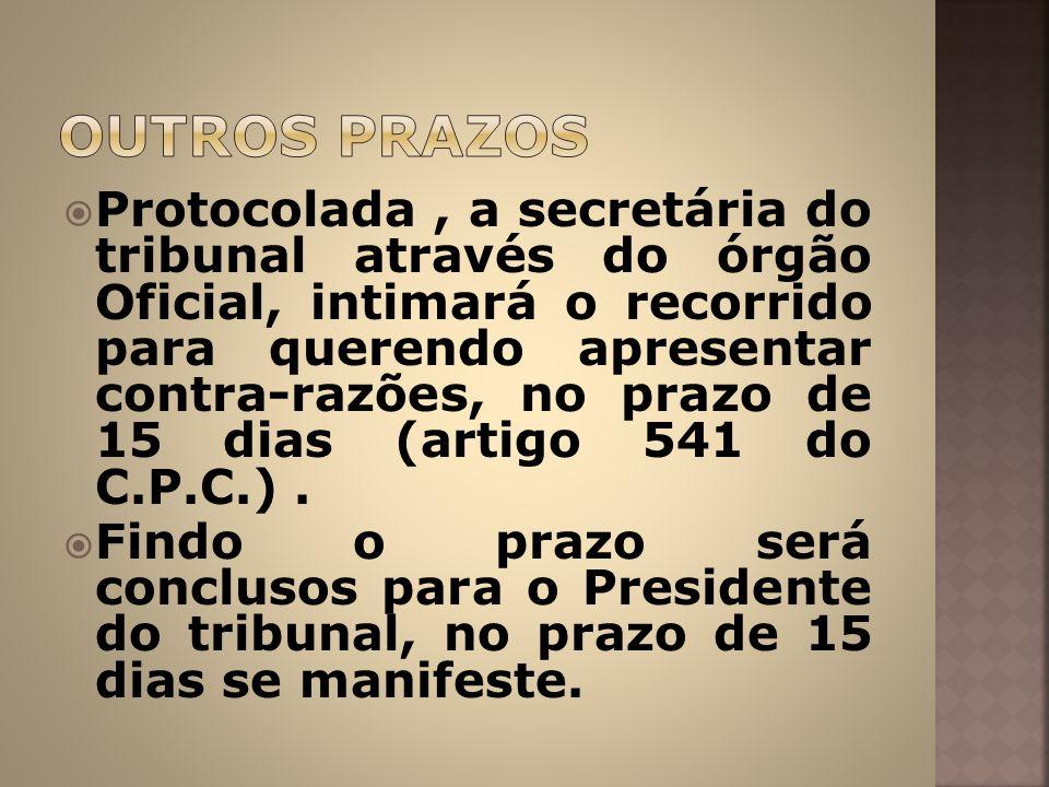 Protocolada, a secretária do tribunal através do órgão Oficial, intimará o recorrido para querendo apresentar contra-razões, no prazo de 15 dias (arti