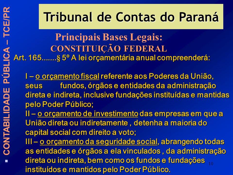 10 Tribunal de Contas do Paraná CONTABILIDADE PÚBLICA – TCE/PR Principais Bases Legais: CONSTITUIÇÃO FEDERAL Art. 165.......§ 5º A lei orçamentária an