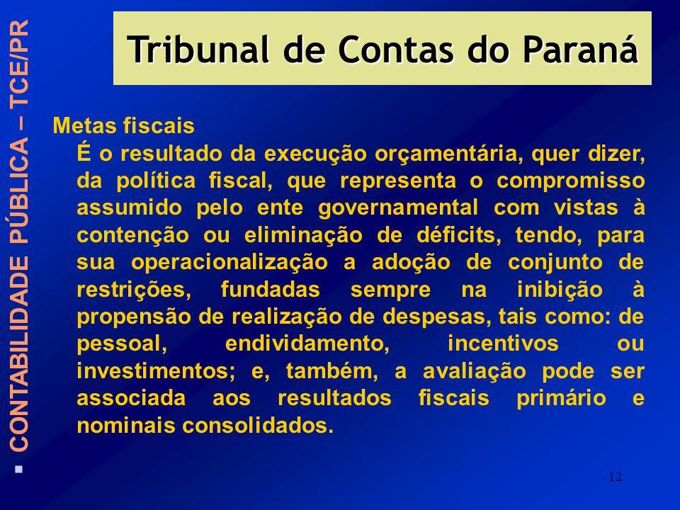 12 Tribunal de Contas do Paraná CONTABILIDADE PÚBLICA – TCE/PR Metas fiscais É o resultado da execução orçamentária, quer dizer, da política fiscal, q