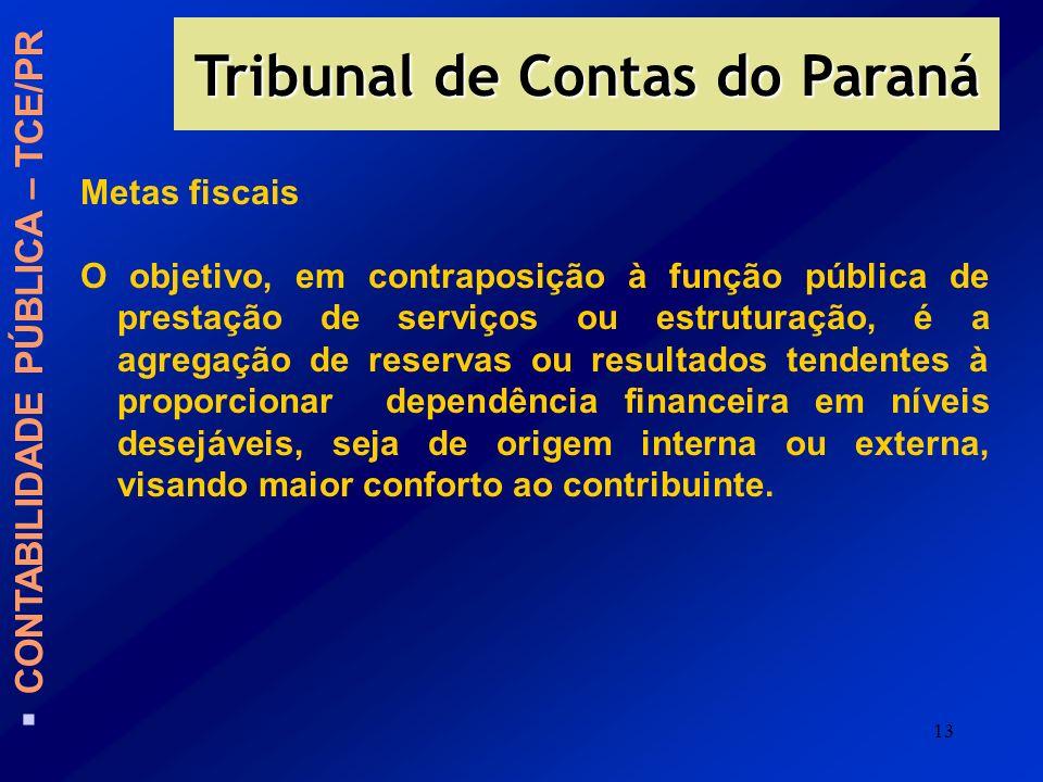 13 Tribunal de Contas do Paraná CONTABILIDADE PÚBLICA – TCE/PR Metas fiscais O objetivo, em contraposição à função pública de prestação de serviços ou