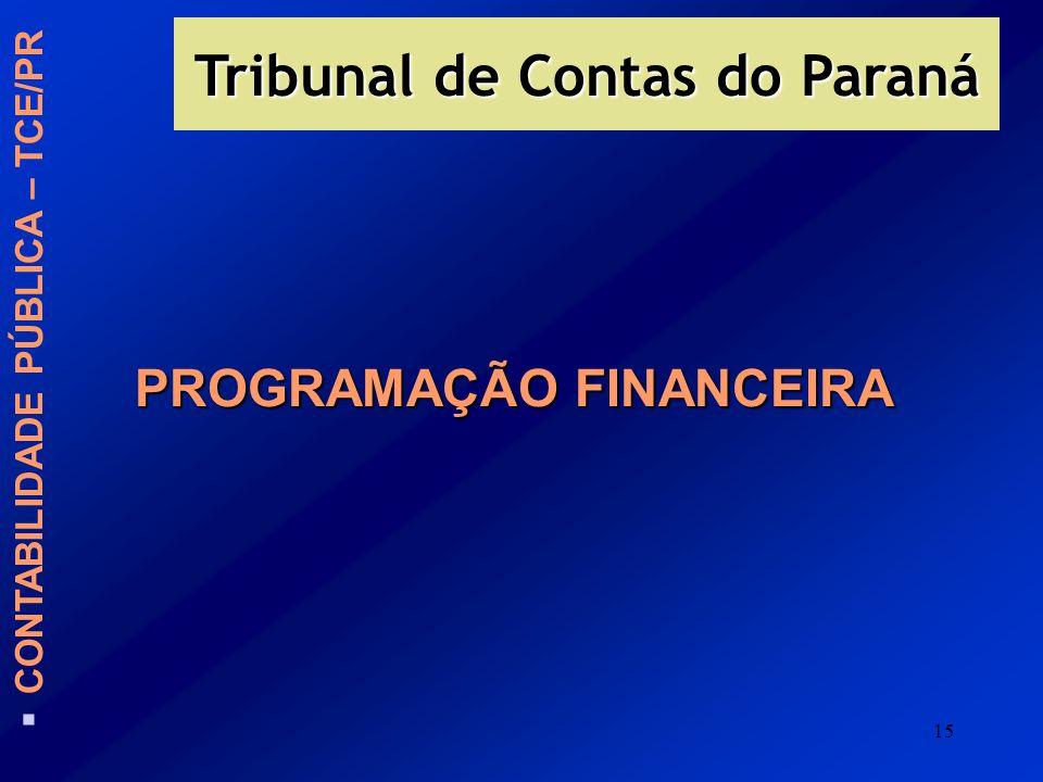 15 PROGRAMAÇÃO FINANCEIRA Tribunal de Contas do Paraná CONTABILIDADE PÚBLICA – TCE/PR
