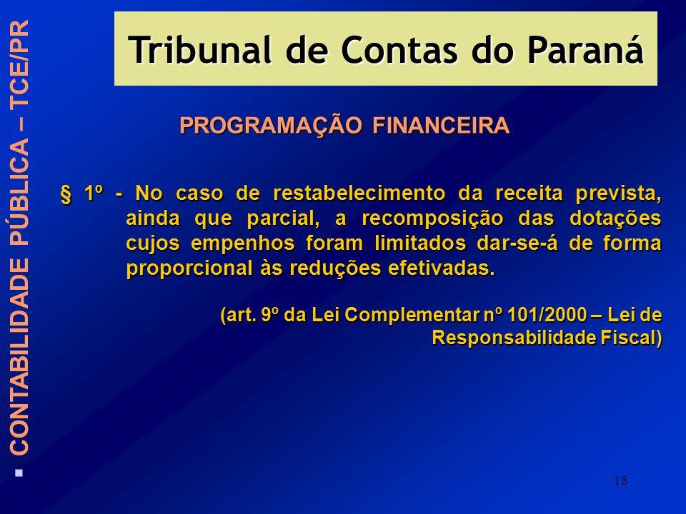 18 PROGRAMAÇÃO FINANCEIRA § 1º - No caso de restabelecimento da receita prevista, ainda que parcial, a recomposição das dotações cujos empenhos foram