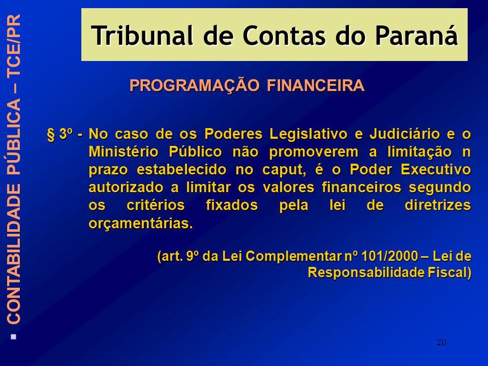 20 PROGRAMAÇÃO FINANCEIRA § 3º -No caso de os Poderes Legislativo e Judiciário e o Ministério Público não promoverem a limitação n prazo estabelecido