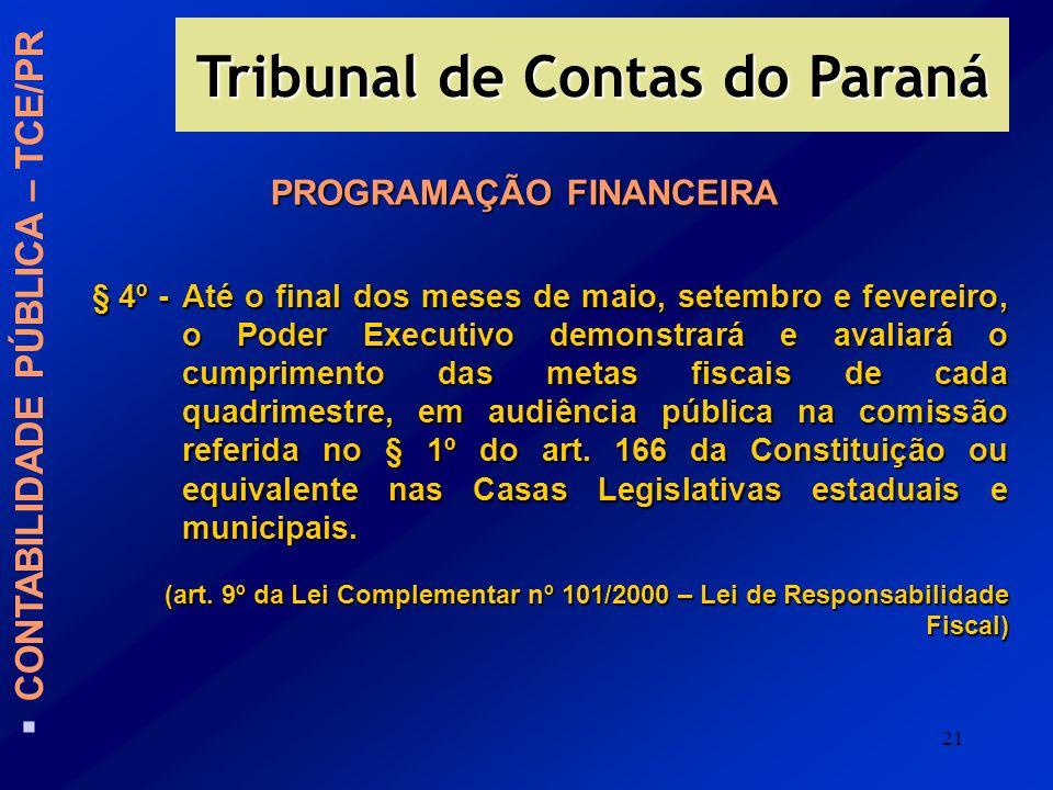 21 PROGRAMAÇÃO FINANCEIRA § 4º -Até o final dos meses de maio, setembro e fevereiro, o Poder Executivo demonstrará e avaliará o cumprimento das metas