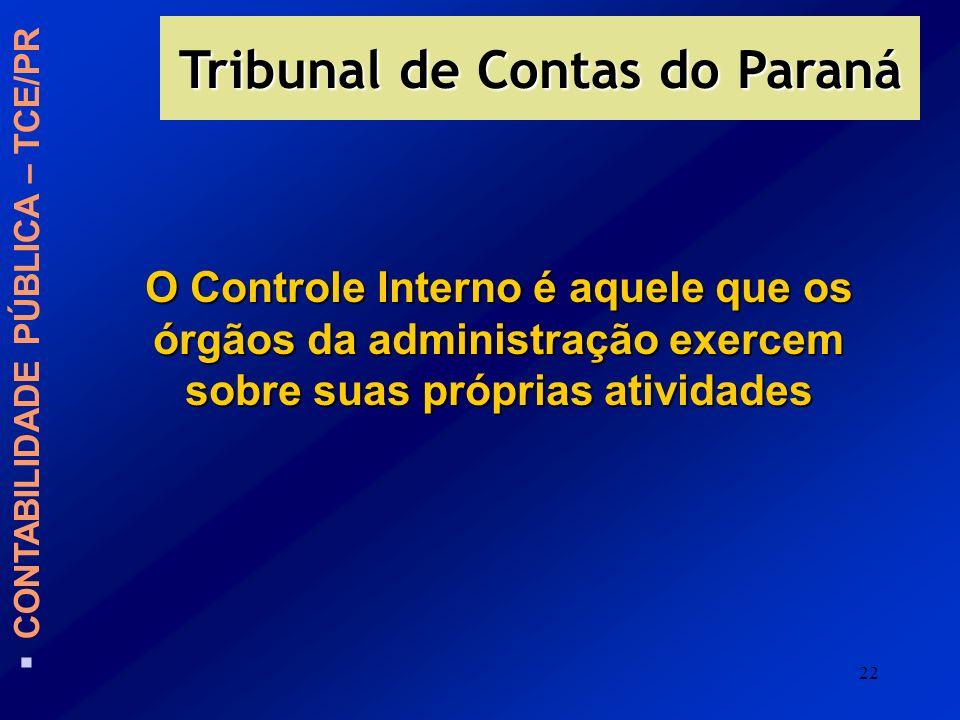 22 O Controle Interno é aquele que os órgãos da administração exercem sobre suas próprias atividades CONTABILIDADE PÚBLICA – TCE/PR Tribunal de Contas