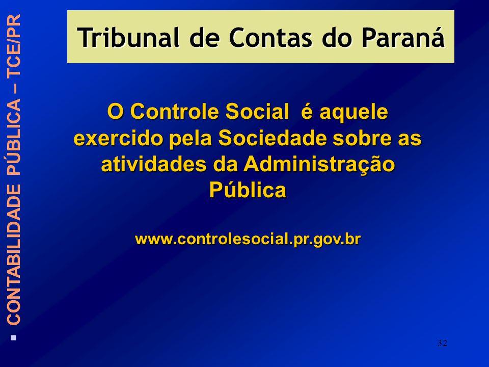 32 O Controle Social é aquele exercido pela Sociedade sobre as atividades da Administração Pública www.controlesocial.pr.gov.br CONTABILIDADE PÚBLICA