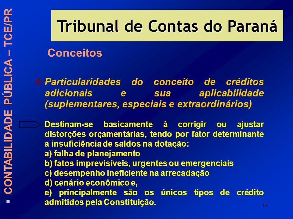 33 CONTABILIDADE PÚBLICA – TCE/PR Tribunal de Contas do Paraná Particularidades do conceito de créditos adicionais e sua aplicabilidade (suplementares