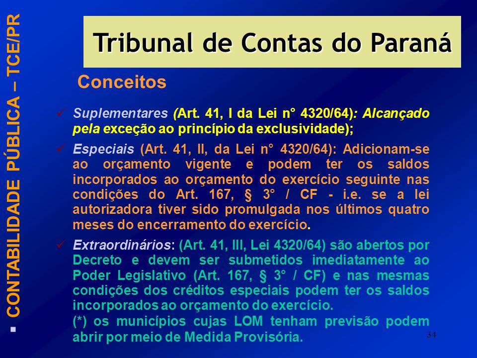 34 CONTABILIDADE PÚBLICA – TCE/PR Tribunal de Contas do Paraná Suplementares (Art. 41, I da Lei n° 4320/64): Alcançado pela exceção ao princípio da ex