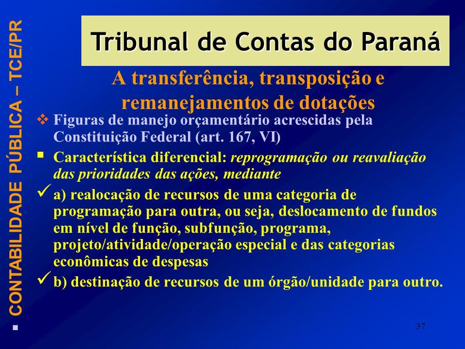 37 A transferência, transposição e remanejamentos de dotações Figuras de manejo orçamentário acrescidas pela Constituição Federal (art. 167, VI) Carac
