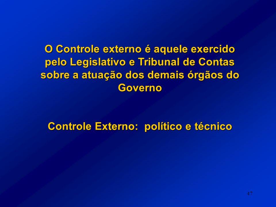 47 O Controle externo é aquele exercido pelo Legislativo e Tribunal de Contas sobre a atuação dos demais órgãos do Governo Controle Externo: político