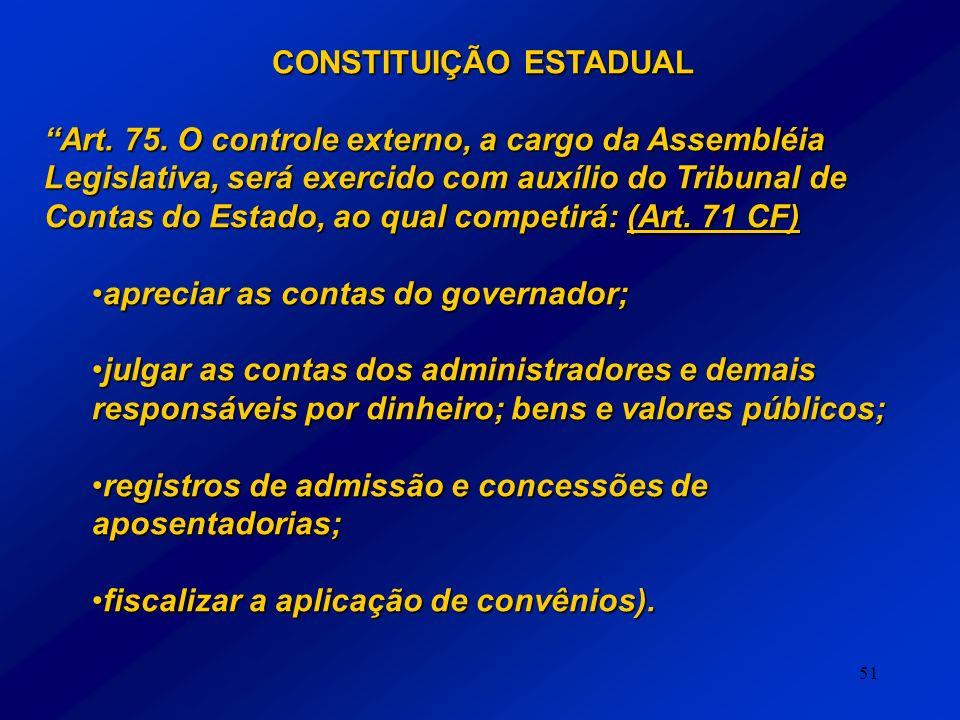 51 CONSTITUIÇÃO ESTADUAL Art. 75. O controle externo, a cargo da Assembléia Legislativa, será exercido com auxílio do Tribunal de Contas do Estado, ao