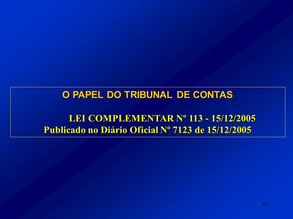 53 O PAPEL DO TRIBUNAL DE CONTAS LEI COMPLEMENTAR Nº 113 - 15/12/2005 Publicado no Diário Oficial Nº 7123 de 15/12/2005