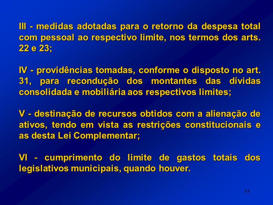 55 III - medidas adotadas para o retorno da despesa total com pessoal ao respectivo limite, nos termos dos arts. 22 e 23; IV - providências tomadas, c