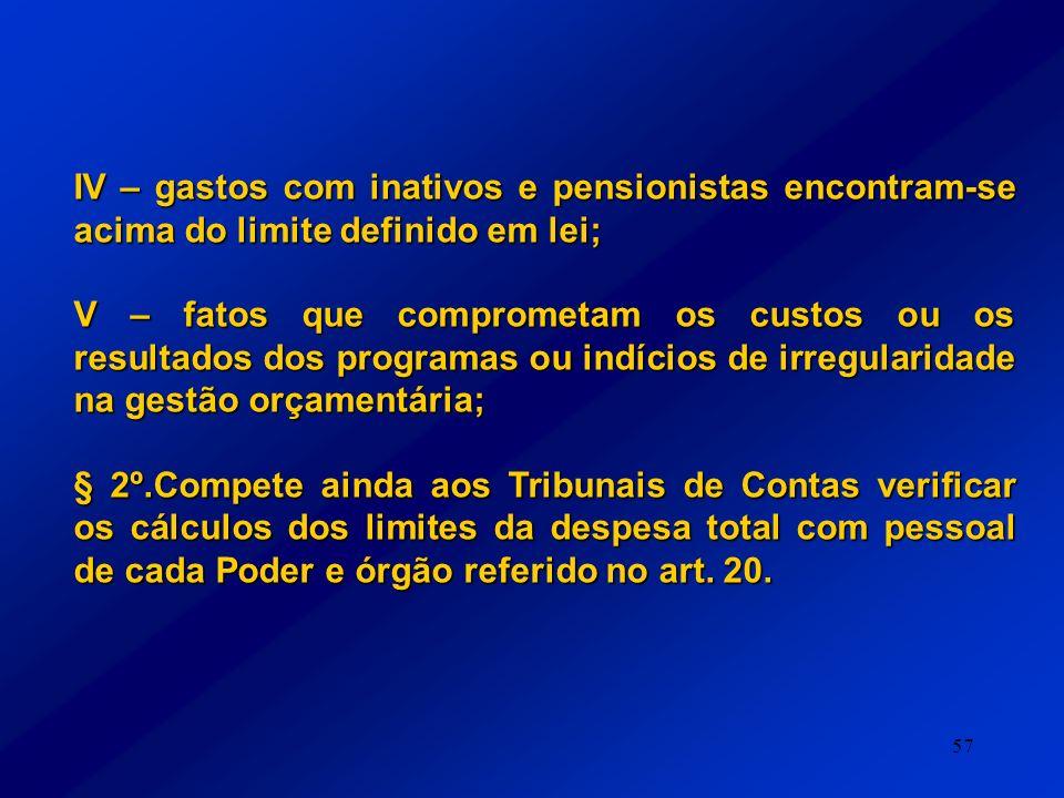 57 IV – gastos com inativos e pensionistas encontram-se acima do limite definido em lei; V – fatos que comprometam os custos ou os resultados dos prog