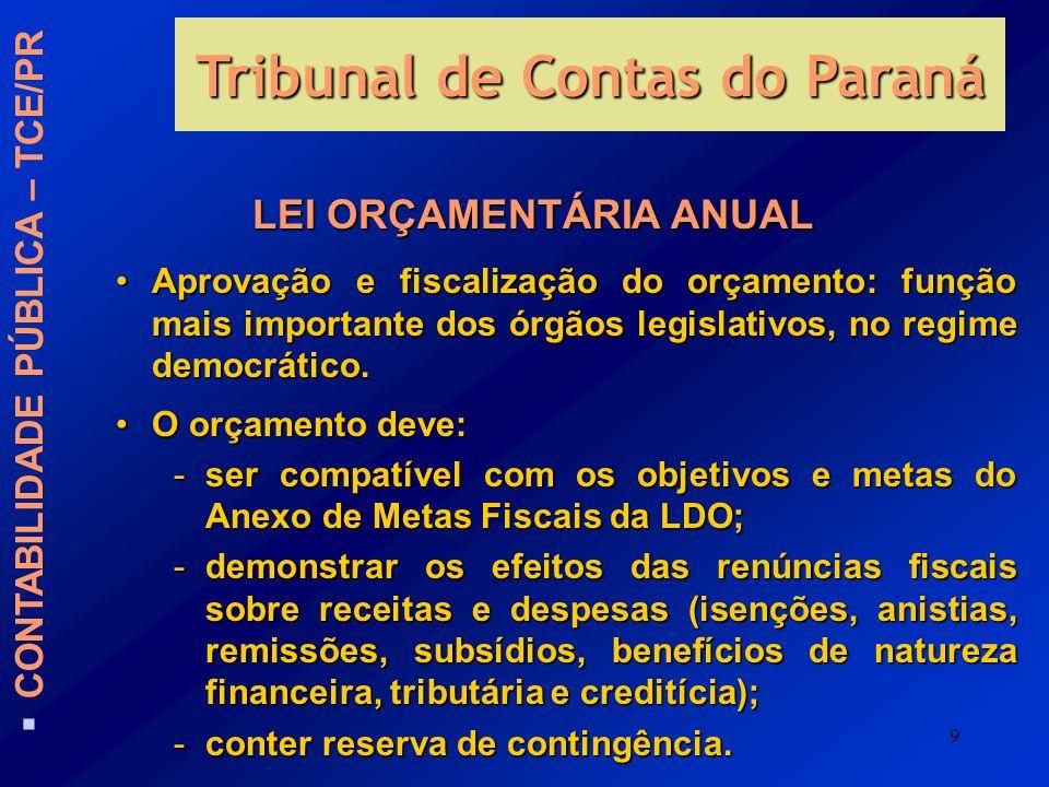 9 LEI ORÇAMENTÁRIA ANUAL Aprovação e fiscalização do orçamento: função mais importante dos órgãos legislativos, no regime democrático.Aprovação e fisc