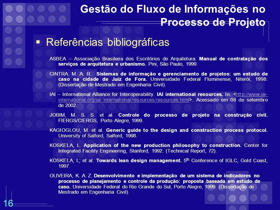 Gestão do Fluxo de Informações no Processo de Projeto Referências bibliográficas ASBEA – Associação Brasileira dos Escritórios de Arquitetura. Manual