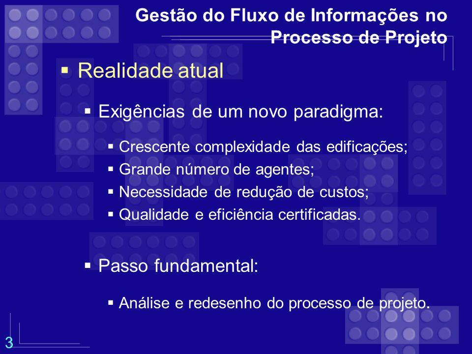 Gestão do Fluxo de Informações no Processo de Projeto Metodologia Adaptada do trabalho de Cintra (1998).