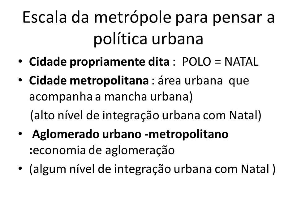 Escala da metrópole para pensar a política urbana Cidade propriamente dita : POLO = NATAL Cidade metropolitana : área urbana que acompanha a mancha ur