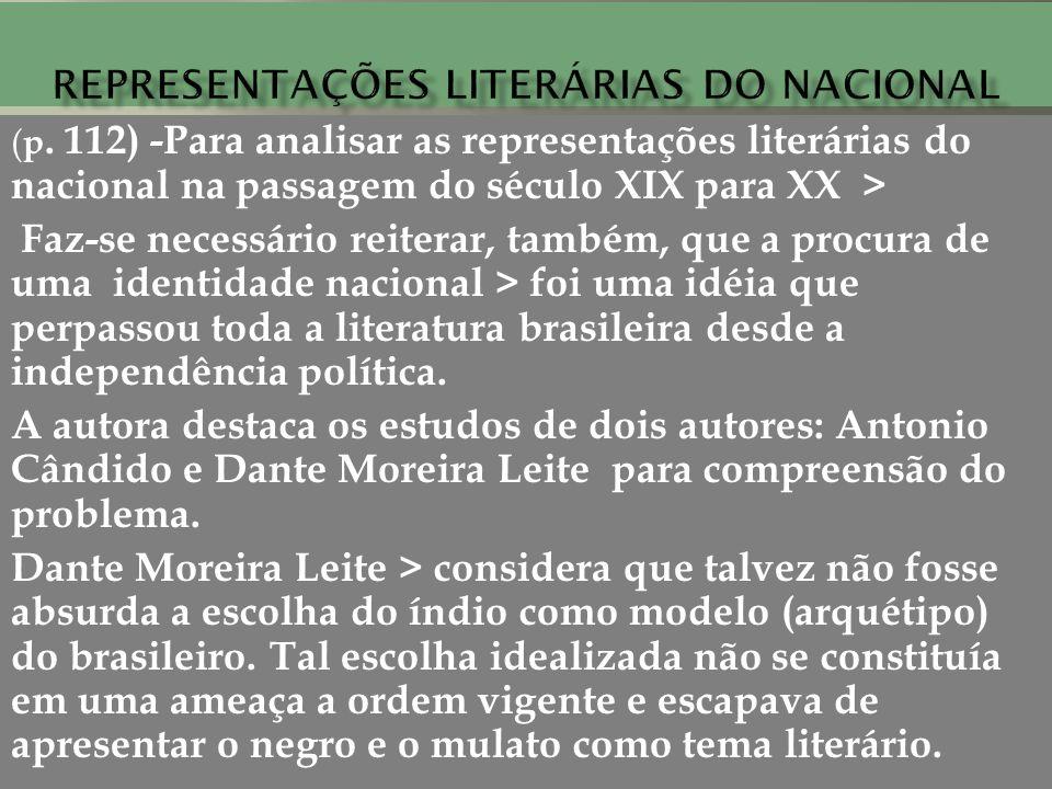 ( p. 112) -Para analisar as representações literárias do nacional na passagem do século XIX para XX > Faz-se necessário reiterar, também, que a procur