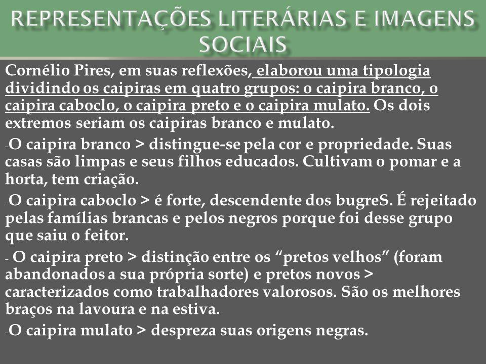 Cornélio Pires, em suas reflexões, elaborou uma tipologia dividindo os caipiras em quatro grupos: o caipira branco, o caipira caboclo, o caipira preto