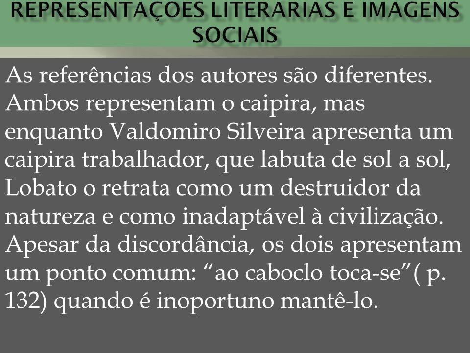 As referências dos autores são diferentes. Ambos representam o caipira, mas enquanto Valdomiro Silveira apresenta um caipira trabalhador, que labuta d