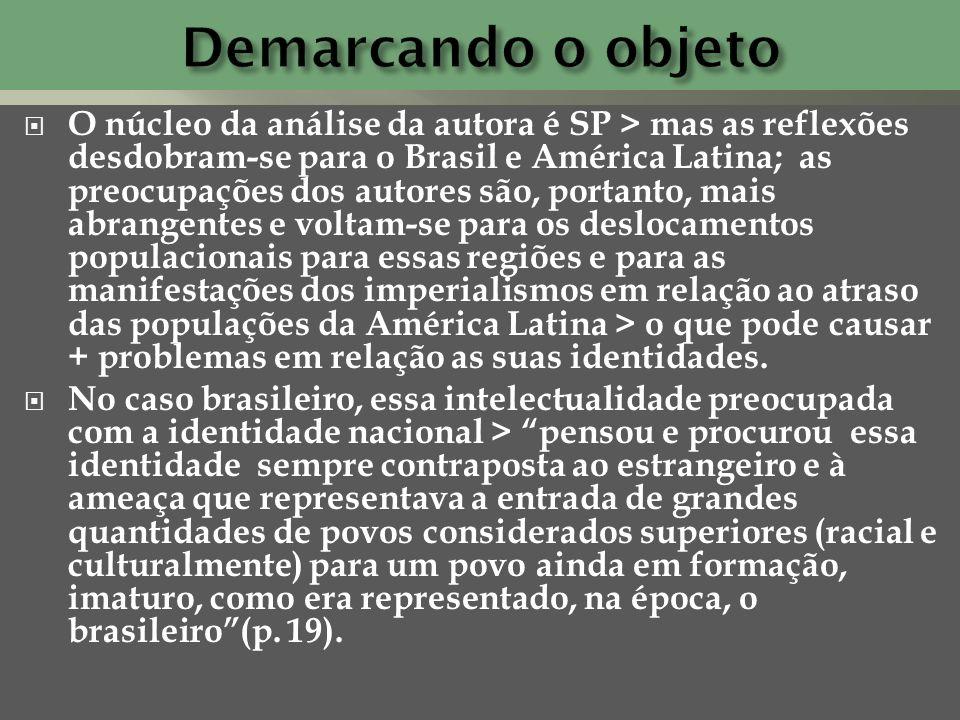 O núcleo da análise da autora é SP > mas as reflexões desdobram-se para o Brasil e América Latina; as preocupações dos autores são, portanto, mais abr