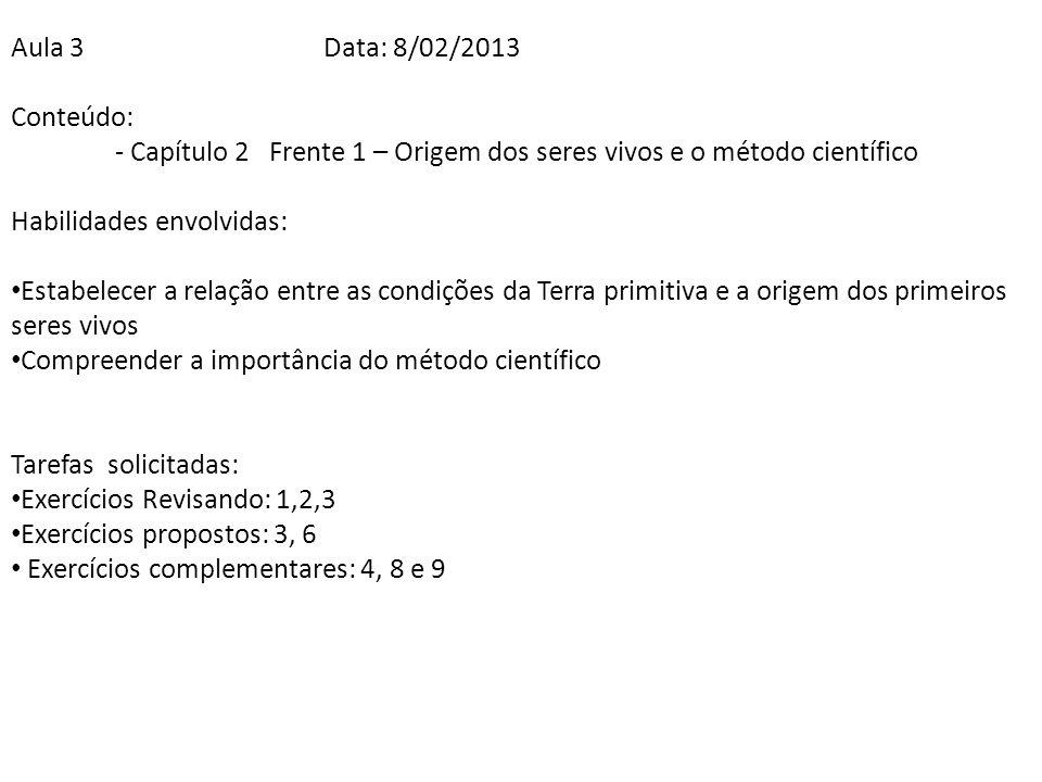 Aula 3Data: 8/02/2013 Conteúdo: - Capítulo 2 Frente 1 – Origem dos seres vivos e o método científico Habilidades envolvidas: Estabelecer a relação ent