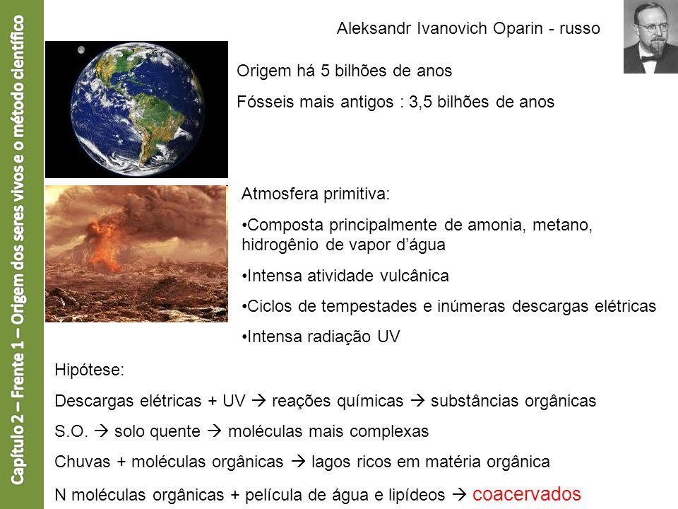 Aleksandr Ivanovich Oparin - russo Origem há 5 bilhões de anos Fósseis mais antigos : 3,5 bilhões de anos Atmosfera primitiva: Composta principalmente