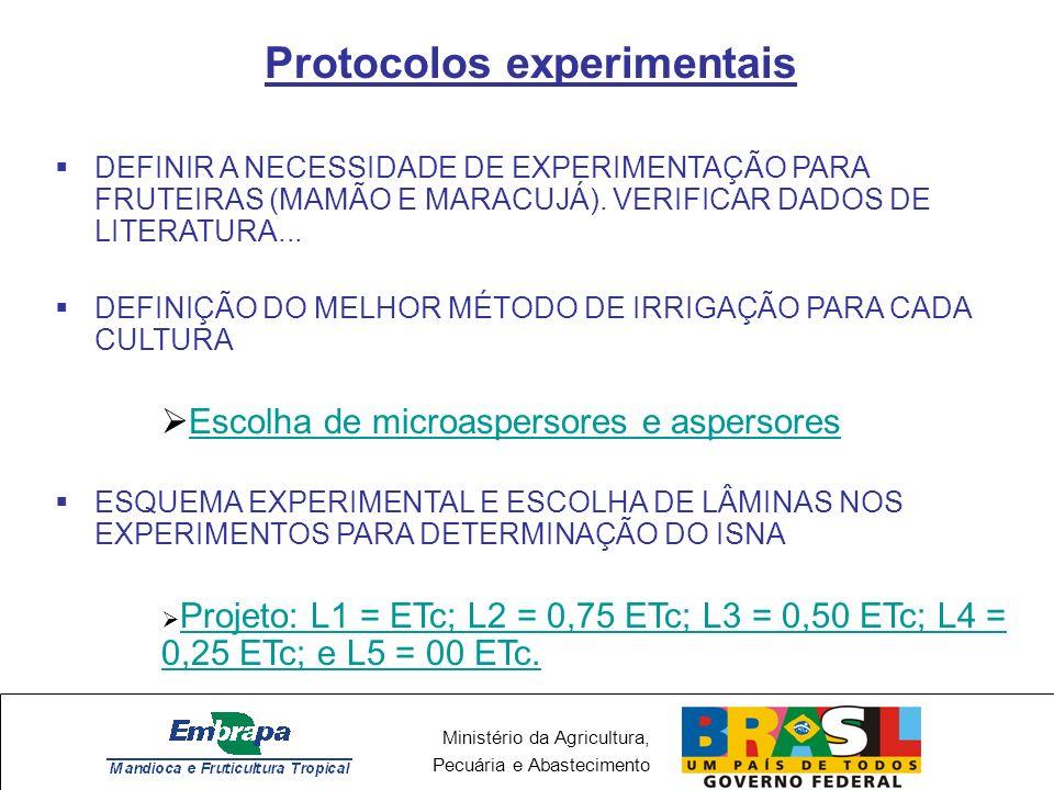 Ministério da Agricultura, Pecuária e Abastecimento Protocolos experimentais DEFINIR A NECESSIDADE DE EXPERIMENTAÇÃO PARA FRUTEIRAS (MAMÃO E MARACUJÁ)
