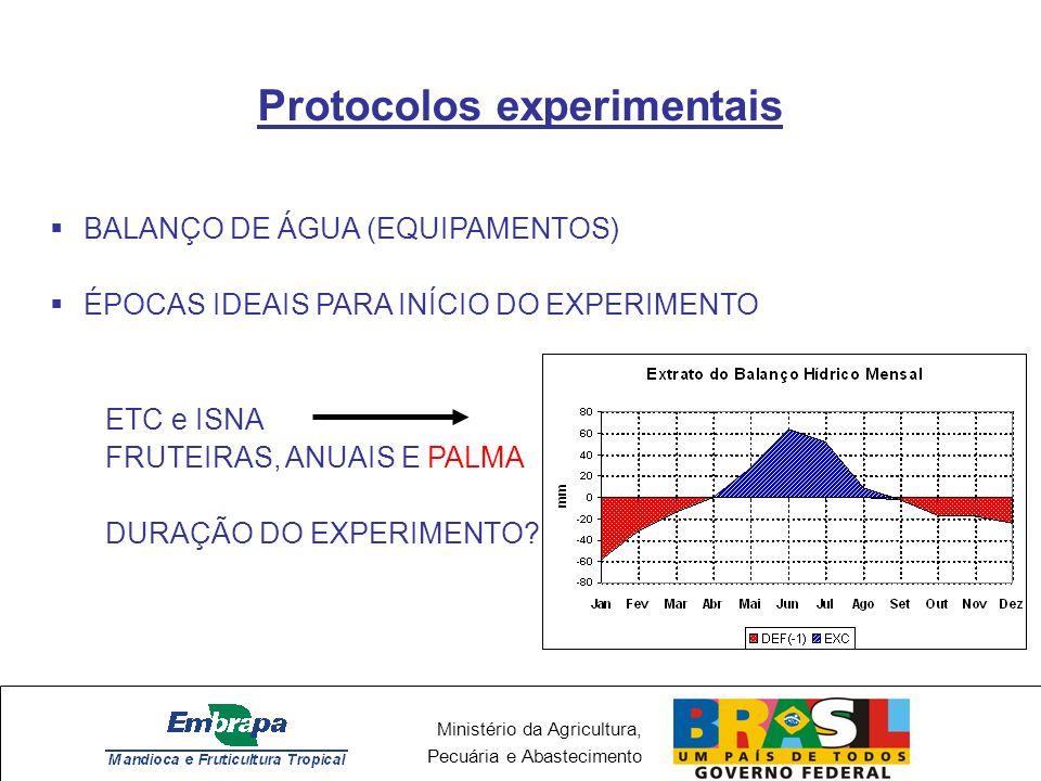 Ministério da Agricultura, Pecuária e Abastecimento Protocolos experimentais BALANÇO DE ÁGUA (EQUIPAMENTOS) ÉPOCAS IDEAIS PARA INÍCIO DO EXPERIMENTO E