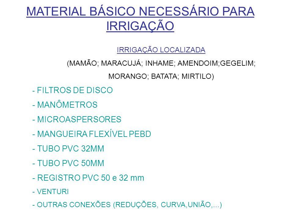 MATERIAL BÁSICO NECESSÁRIO PARA IRRIGAÇÃO IRRIGAÇÃO LOCALIZADA (MAMÃO; MARACUJÁ; INHAME; AMENDOIM;GEGELIM; MORANGO; BATATA; MIRTILO) - FILTROS DE DISC