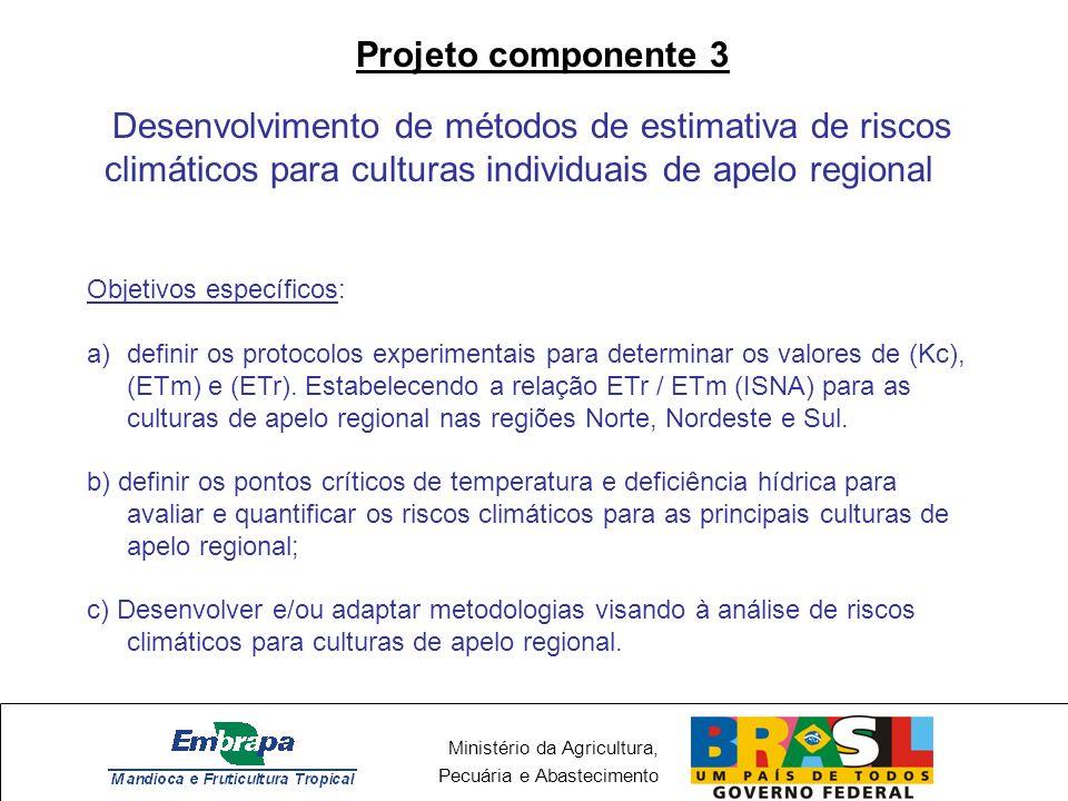 Ministério da Agricultura, Pecuária e Abastecimento Projeto componente 3 Desenvolvimento de métodos de estimativa de riscos climáticos para culturas i