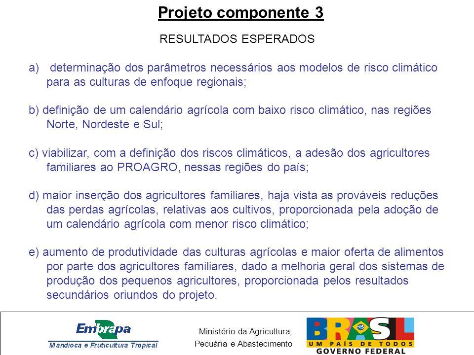 Ministério da Agricultura, Pecuária e Abastecimento Projeto componente 3 RESULTADOS ESPERADOS a) determinação dos parâmetros necessários aos modelos d