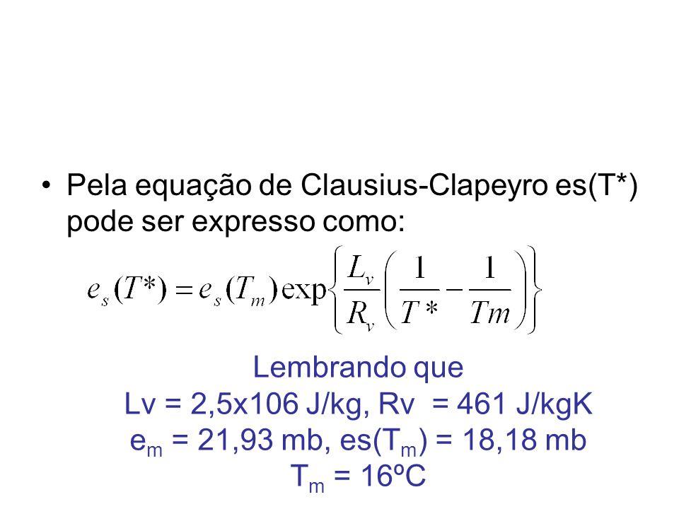 A seguir as 2 equações devem interagir de forma a obter uma solução que satisfaça e* = es(T*).