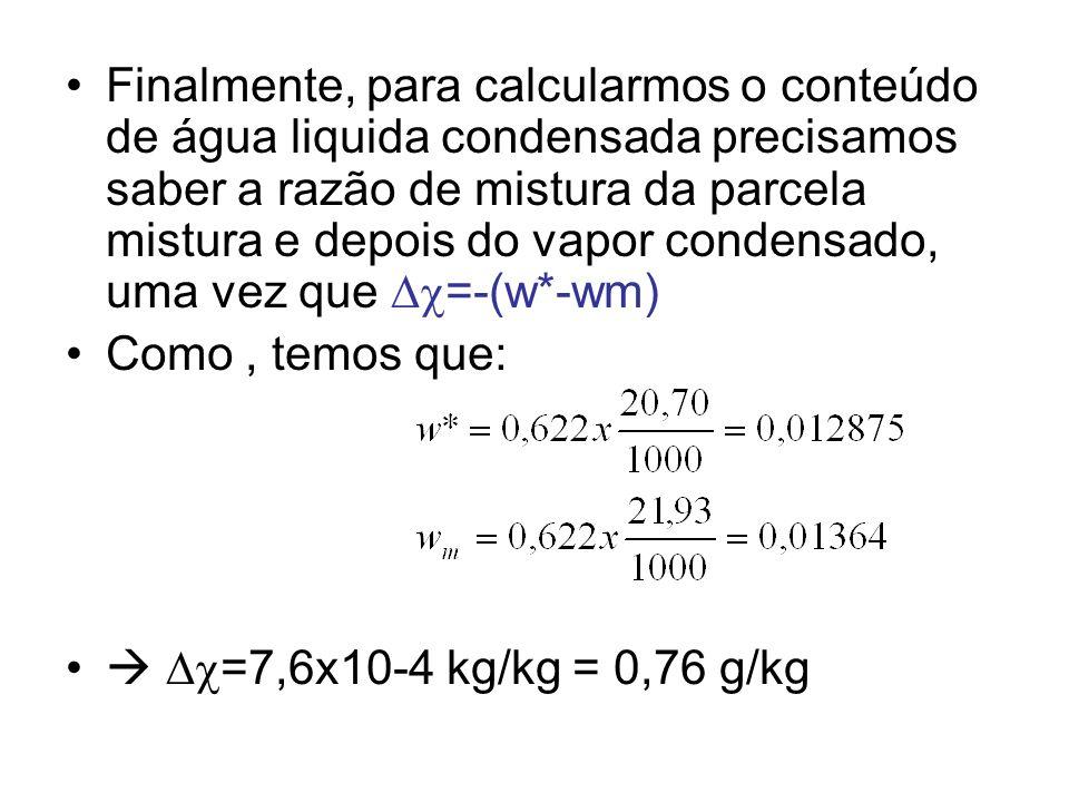 Lista 2: Entrega 28/05/2012 Suponha que duas amostras de ar com massas M1 e M2 fossem misturadas isobaricamente ao nível de 850 hPa.