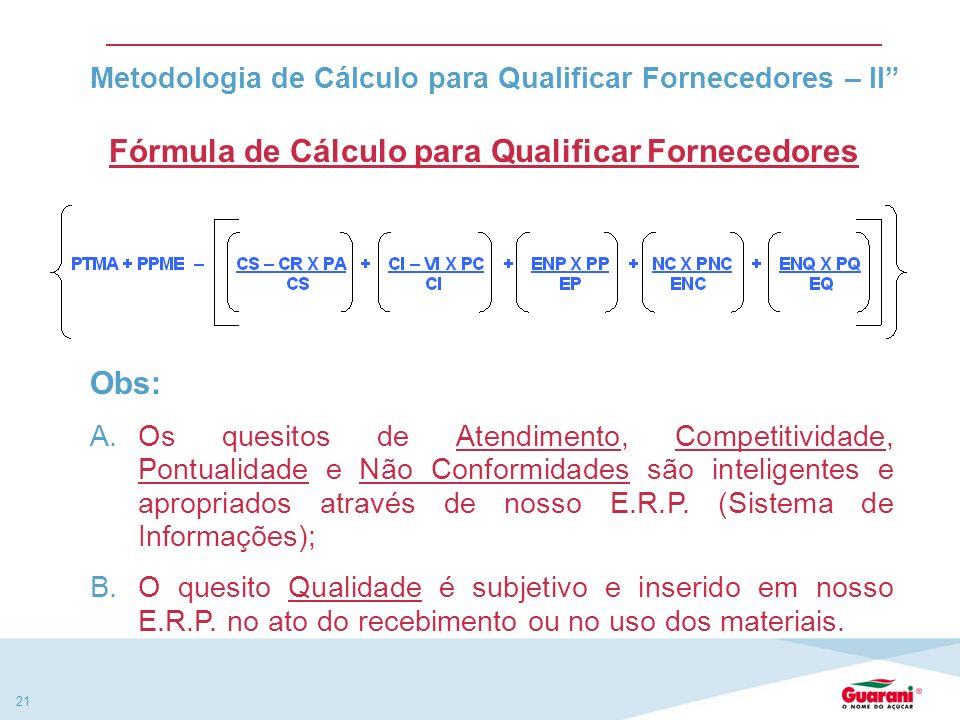 20 Metodologia de Cálculo para Qualificar Fornecedores -I Fator de CálculoQuesito (apuração mensal) PTMAPontuação total do mês anterior PPMEPontos per