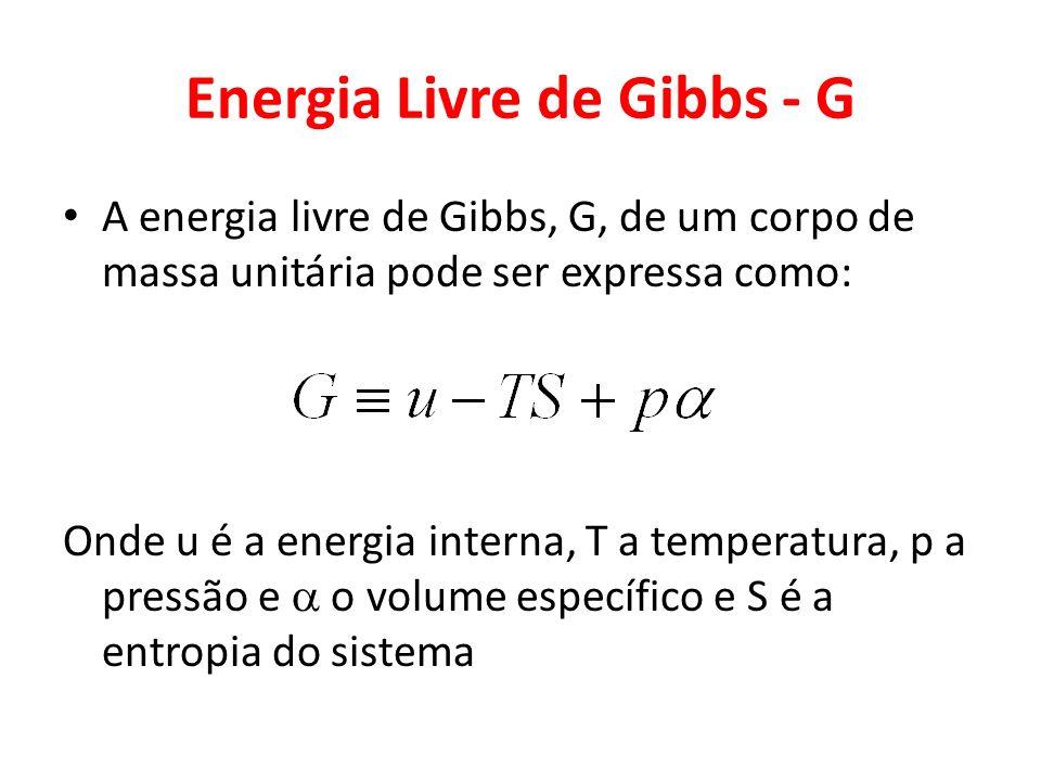 Energia Livre de Gibbs - G A energia livre de Gibbs, G, de um corpo de massa unitária pode ser expressa como: Onde u é a energia interna, T a temperat