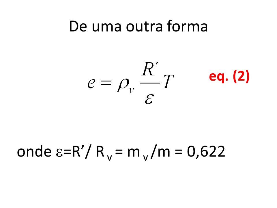 De uma outra forma onde =R/ R v = m v /m = 0,622 eq. (2)