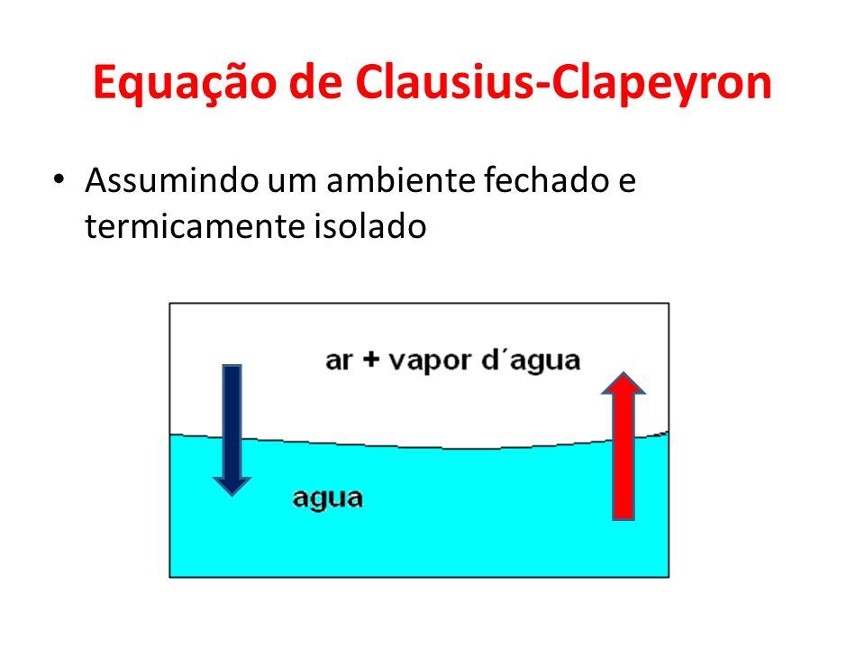 Equação de Clausius-Clapeyron Assumindo um ambiente fechado e termicamente isolado
