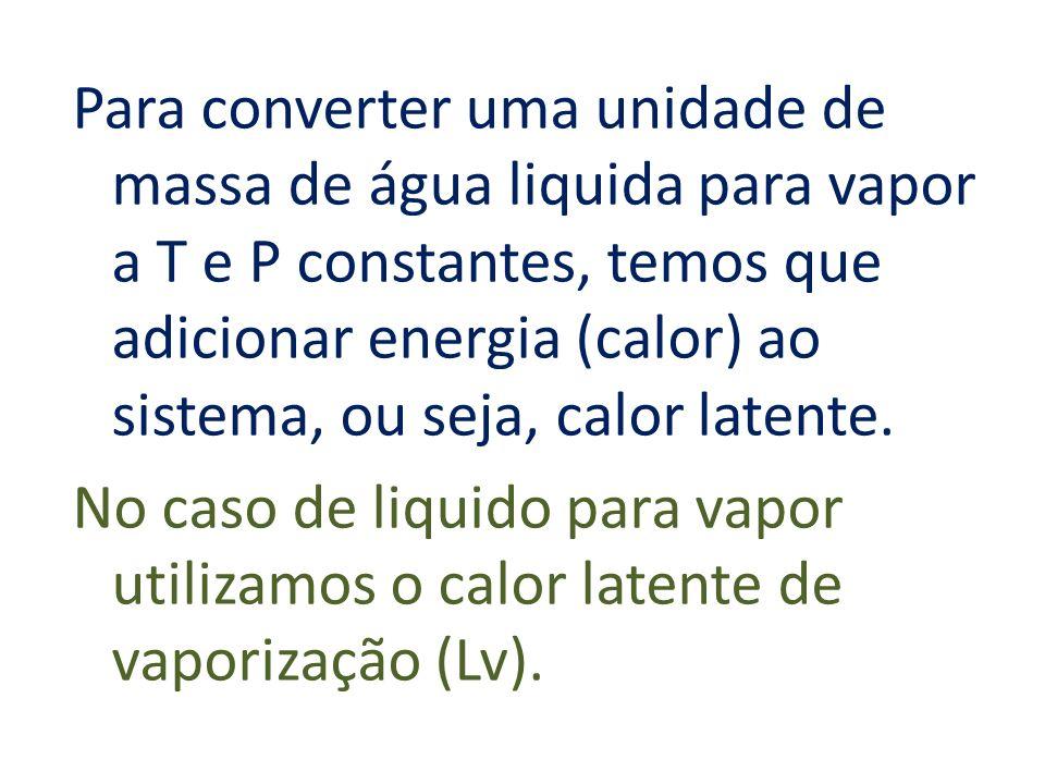 Para converter uma unidade de massa de água liquida para vapor a T e P constantes, temos que adicionar energia (calor) ao sistema, ou seja, calor late