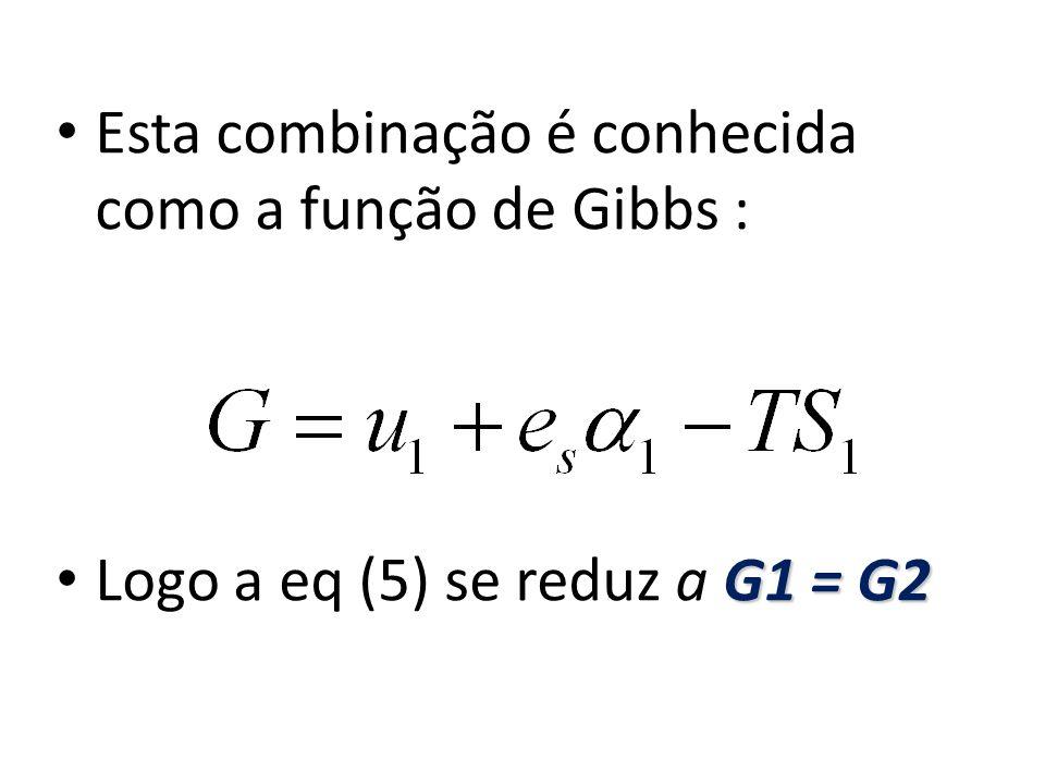 Esta combinação é conhecida como a função de Gibbs : G1 = G2 Logo a eq (5) se reduz a G1 = G2