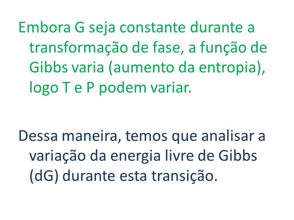 Embora G seja constante durante a transformação de fase, a função de Gibbs varia (aumento da entropia), logo T e P podem variar. Dessa maneira, temos