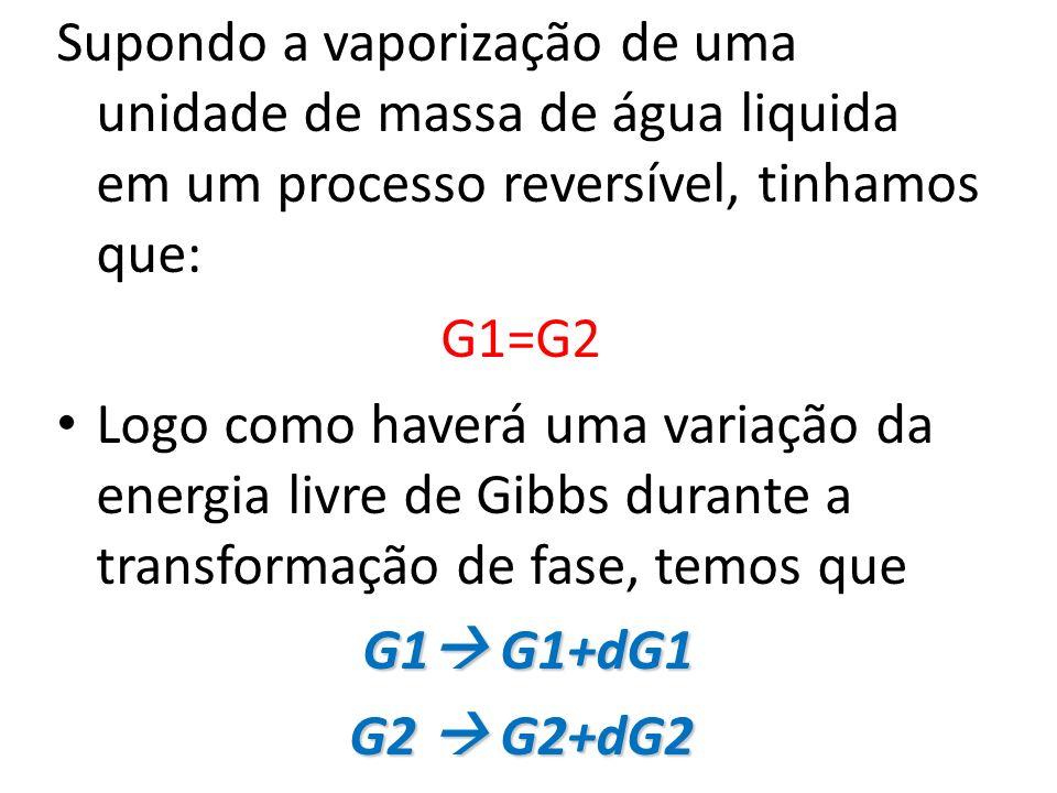 Supondo a vaporização de uma unidade de massa de água liquida em um processo reversível, tinhamos que: G1=G2 Logo como haverá uma variação da energia