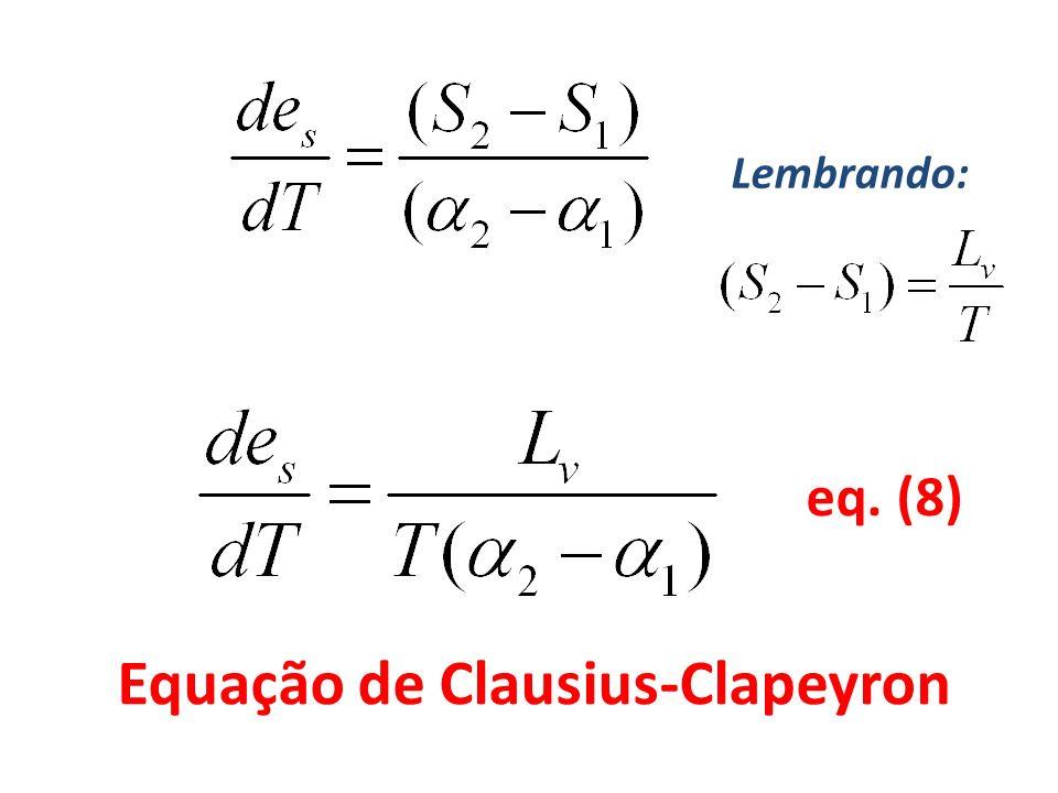 eq. (8) Equação de Clausius-Clapeyron Lembrando: