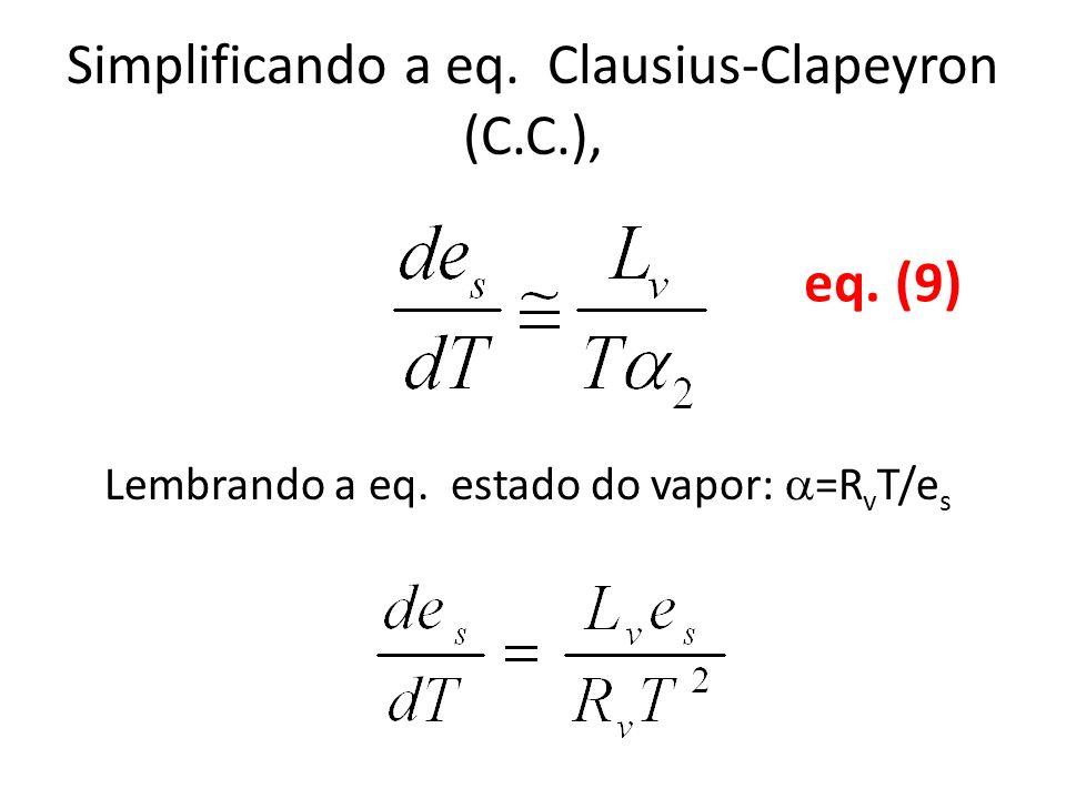 Simplificando a eq. Clausius-Clapeyron (C.C.), Lembrando a eq. estado do vapor: =R v T/e s eq. (9)