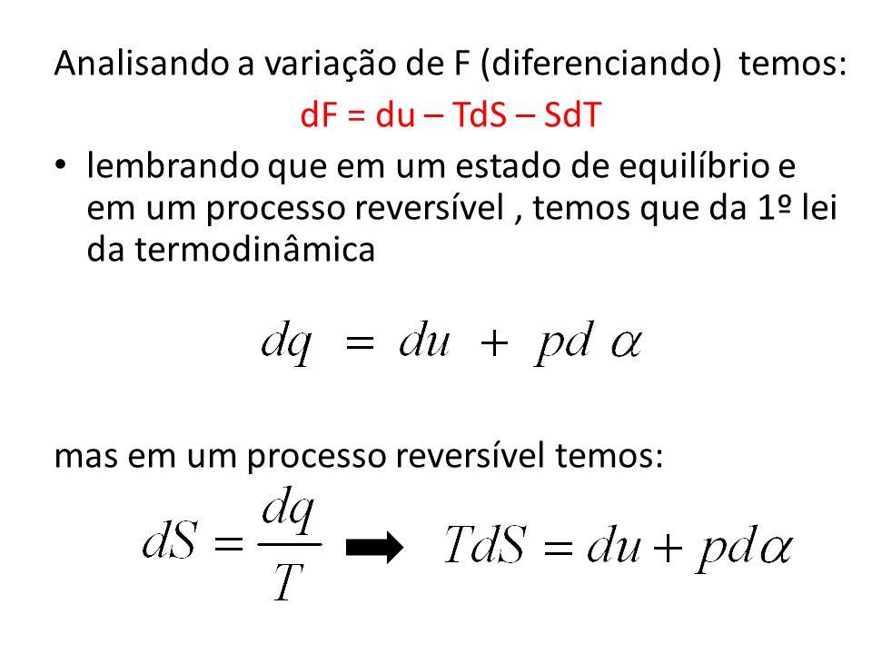 Analisando a variação de F (diferenciando) temos: dF = du – TdS – SdT lembrando que em um estado de equilíbrio e em um processo reversível, temos que