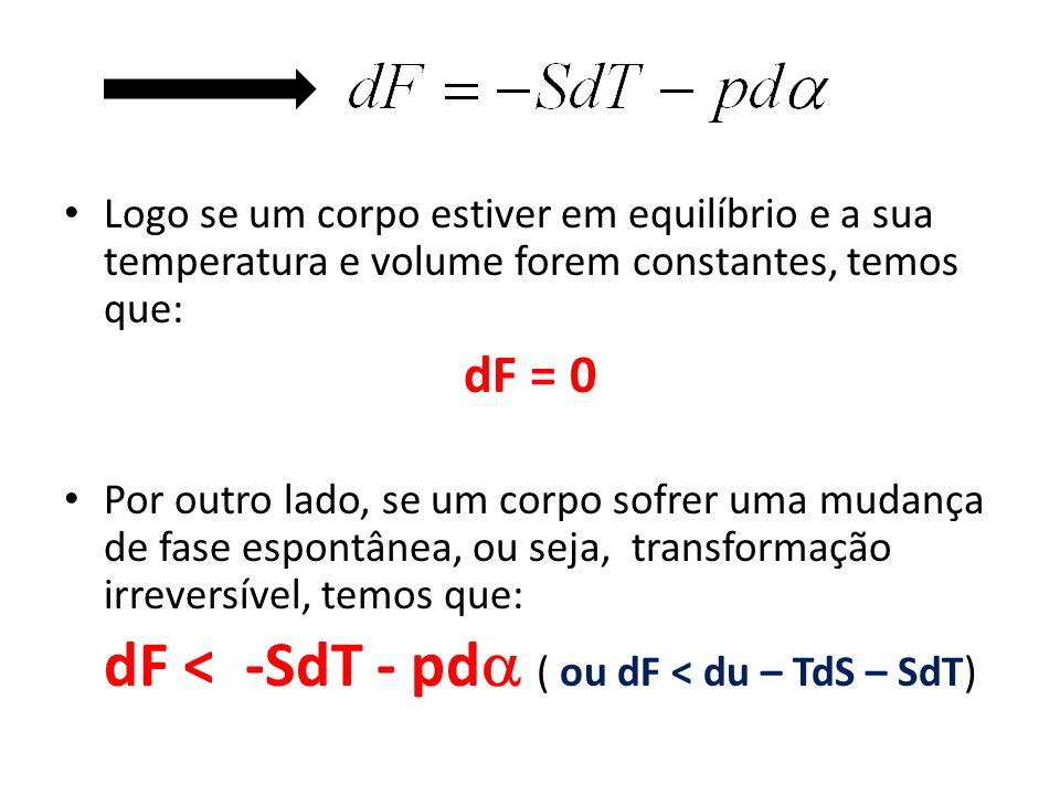 Logo se um corpo estiver em equilíbrio e a sua temperatura e volume forem constantes, temos que: dF = 0 Por outro lado, se um corpo sofrer uma mudança