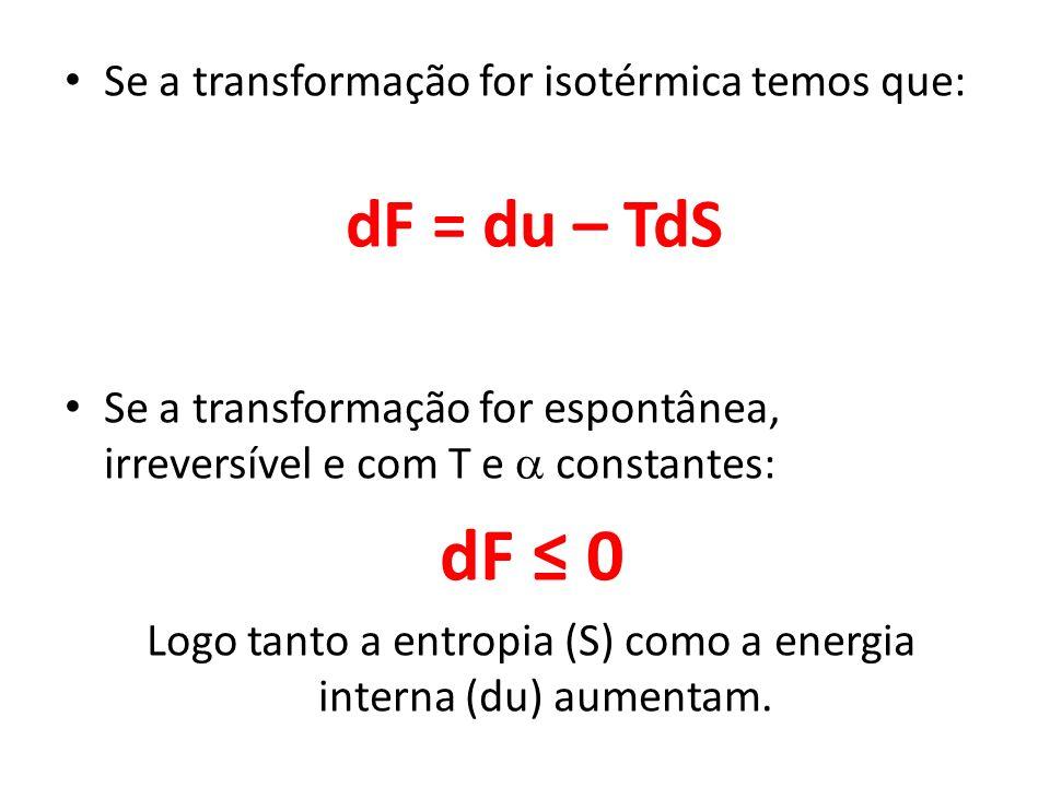 Se a transformação for isotérmica temos que: dF = du – TdS Se a transformação for espontânea, irreversível e com T e constantes: dF 0 Logo tanto a ent