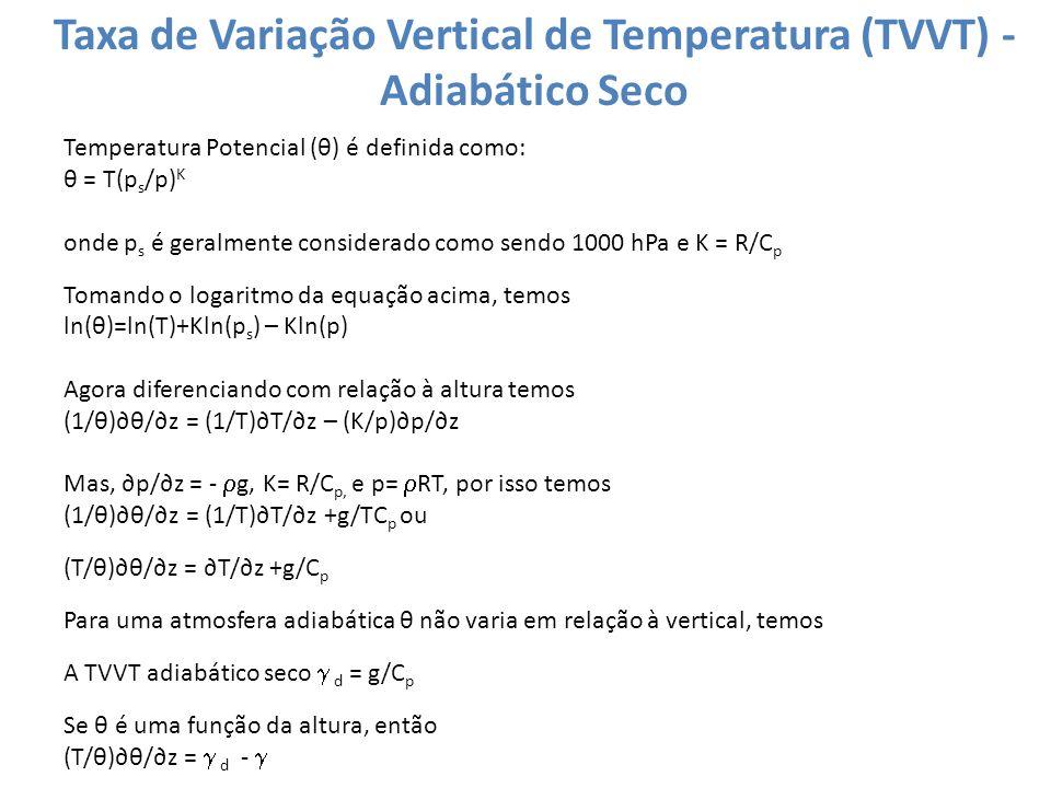 Taxa de Variação Vertical de Temperatura (TVVT) - Adiabático Seco Temperatura Potencial (θ) é definida como: θ = T(p s /p) K onde p s é geralmente con