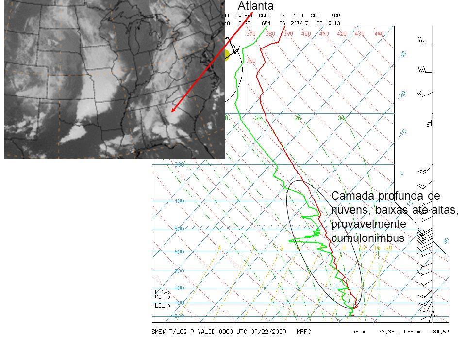 Atlanta Camada profunda de nuvens, baixas até altas, provavelmente cumulonimbus